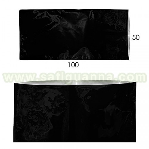 BOLSA SELLABLE METALIZADA NEGRA 50 X 100 CM